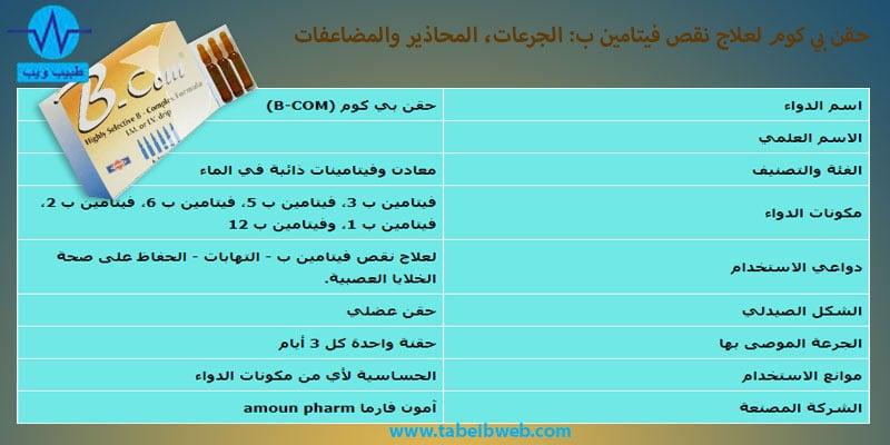 حقن بي كوم (B-COM) لعلاج نقص فيتامين ب الجرعات والمحاذير والمضاعفات