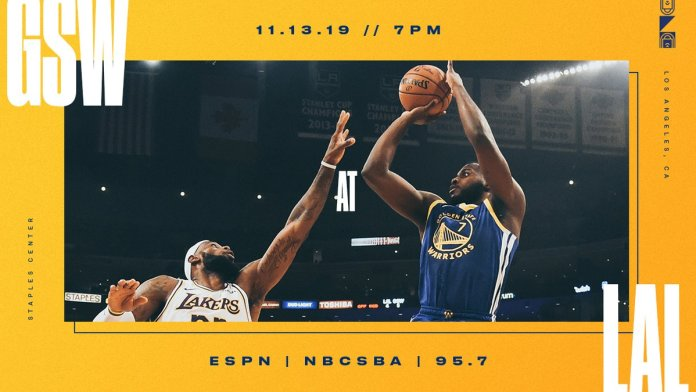 Onde a assistir a Golden State Warriors x Los Angeles Lakers 13/11/2019 – NBA