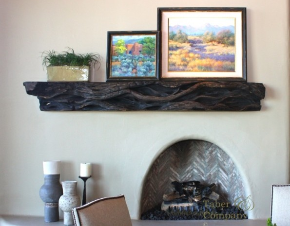 Custom made wood  fireplace mantel for desert highland