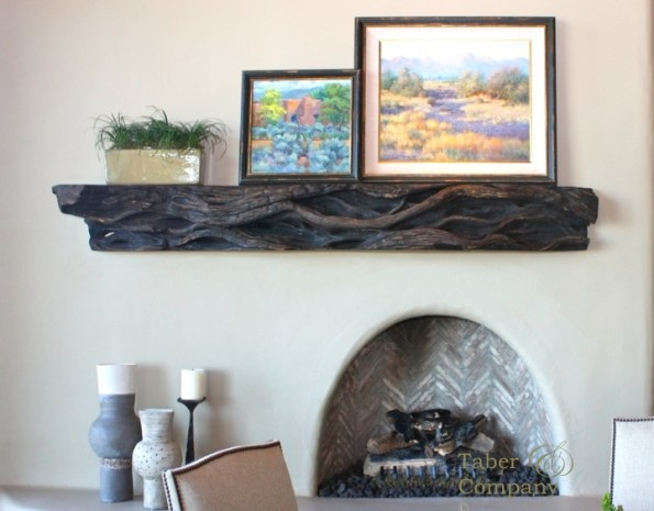 Custom made wood  fireplace mantel for desert highland