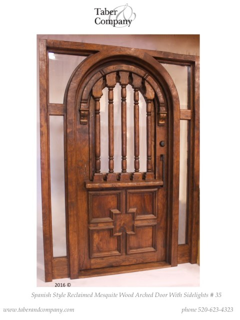 spanish mediterranean style front door, entry door with sidelights sidelites, old world style front door, custom wood doors, custom doors arizona, arched entry doors, front doors arched, eyebrow arch door, door with sidelights sidelites transom, high end custom wood doors, mediterranean style doors, front doors custom, door, doors, wood doors, antique style doors, reclaimed doors, salvage doors, hacienda style doors, mesquite wood doors. doors with spindles, custom doors with glass,