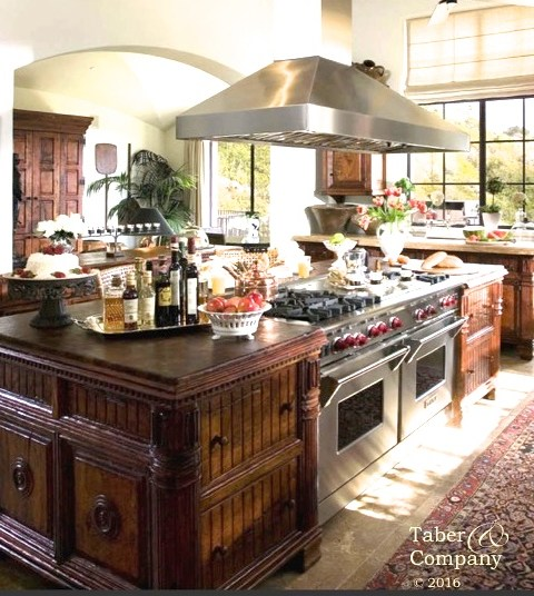 Handcrafted Custom Wood Kitchen Islands, wood countertop, wood furniture style kitchen islands custom high end kitchen mediterranean tuscan style