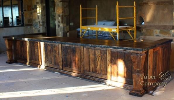 rustic Mediterranean style wood kitchen island