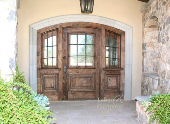 brow top door with sidelights, arch door with sidelights, solid wood front door with sidelights, craftsman style door, craftsman door with sidelights