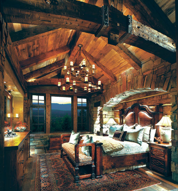 custom designed bedroom furniture for a luxury Montana home.