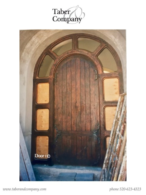 10' massive wood arched door transom
