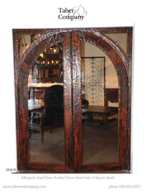 mesquite wood glass double doors