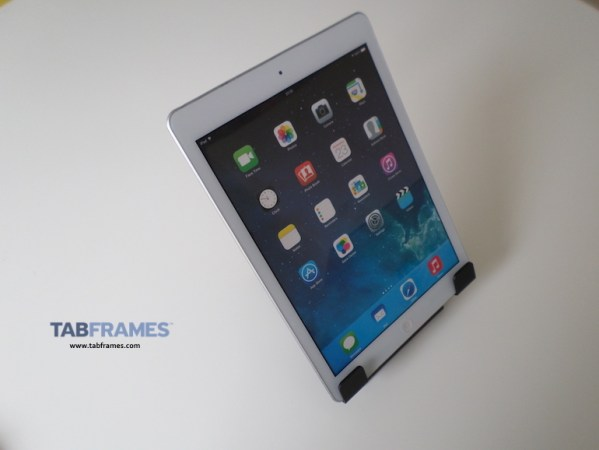Showing iPad 2 tablet in portrait using universal tablet holder