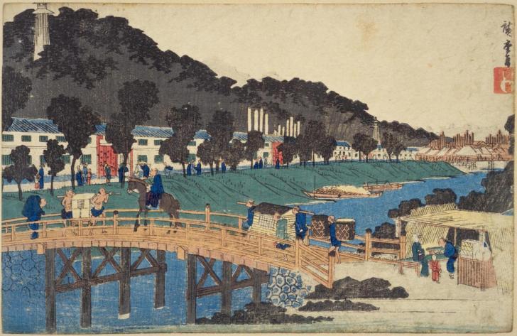 広重『東都名所  芝赤羽橋之図』。久留米藩上屋敷内に火の見櫓がそびえる