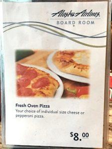 ラウンジのピザメニュー