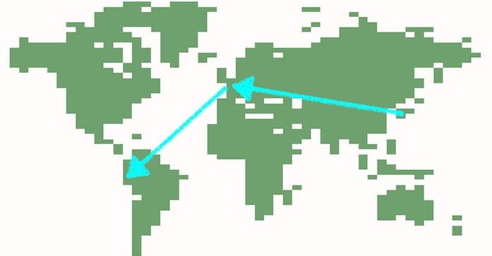 西回りでの行き方を矢印で入れた世界地図