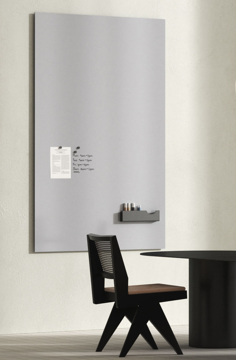 Vertical, frameless whiteboard with magnets and writing in black marker