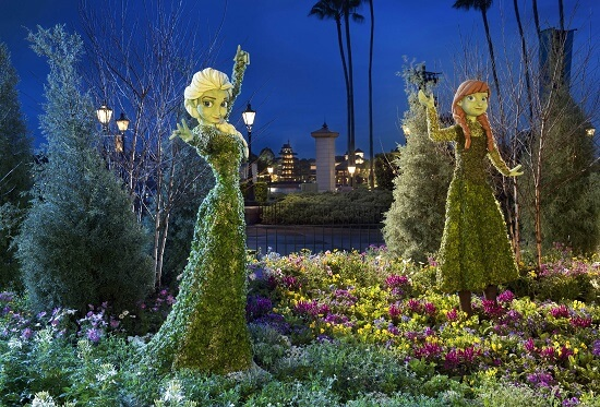 Character Topiaries at Epcot International Flower & Garden Festival: Anna and Elsa