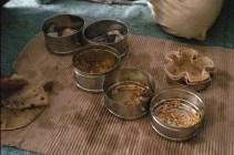 Voici l'intérieur d'un dabba, là pour 2. Invitée à partager leur déjeuner. (Jodhpur)