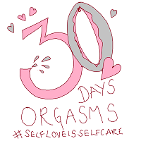 pink and grey logo button with words 30 days orgasm #selfloveisselfcare
