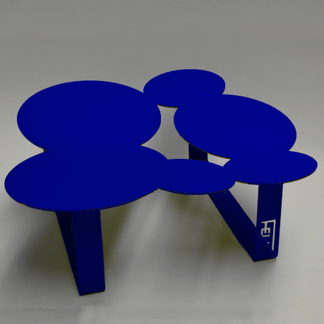 Table basse design cloudy bleue