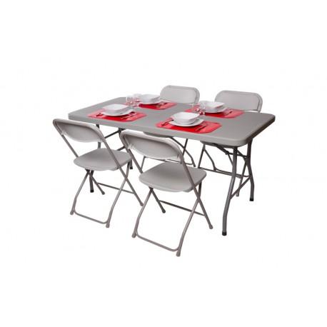 Pack 2 Tables Polythylnes 152cm Et 8 Chaises Polypropylne