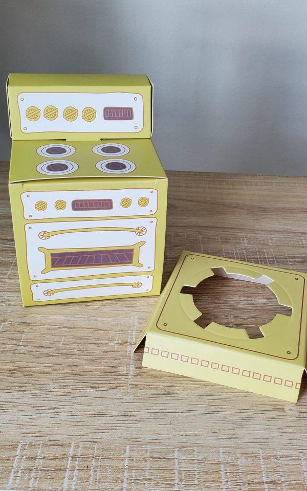 Green stove cupcake box