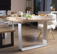 Table Matthias 280x95cm naturelle Excellence pieds en U laqués blancs live edge