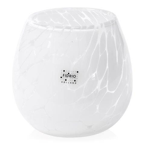 Vase White Granulat Fiore H 15