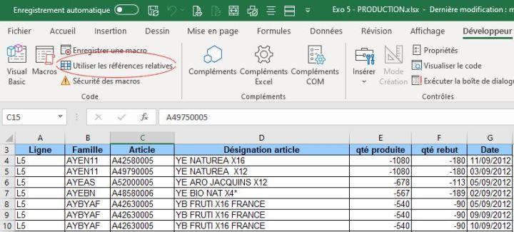 Référence relative onglet Développeur Excel