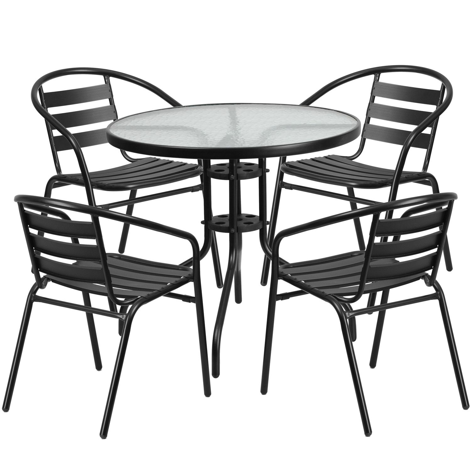 32 round glass patio table 4 arm chairs