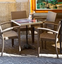 Restaurant Patrons Outdoors With Fun Furniture And