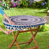 Round Vinyl Table Covers With Elastic for Outdoor Folding ...