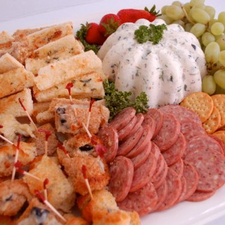 Cheese, meat and fruit party tray