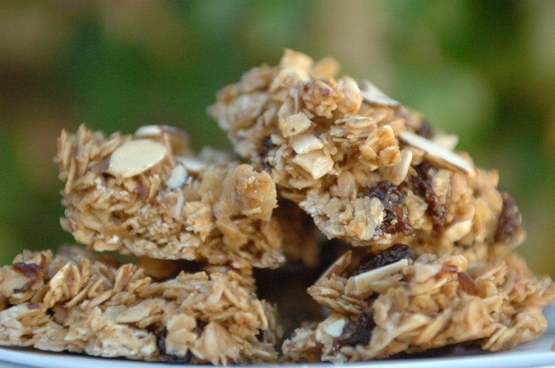Homemade Granola Bars with raisins and sliced almonds.