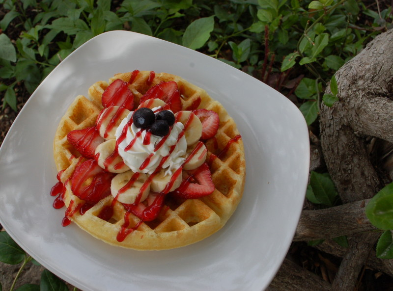 dessert waffle from the waffle bar