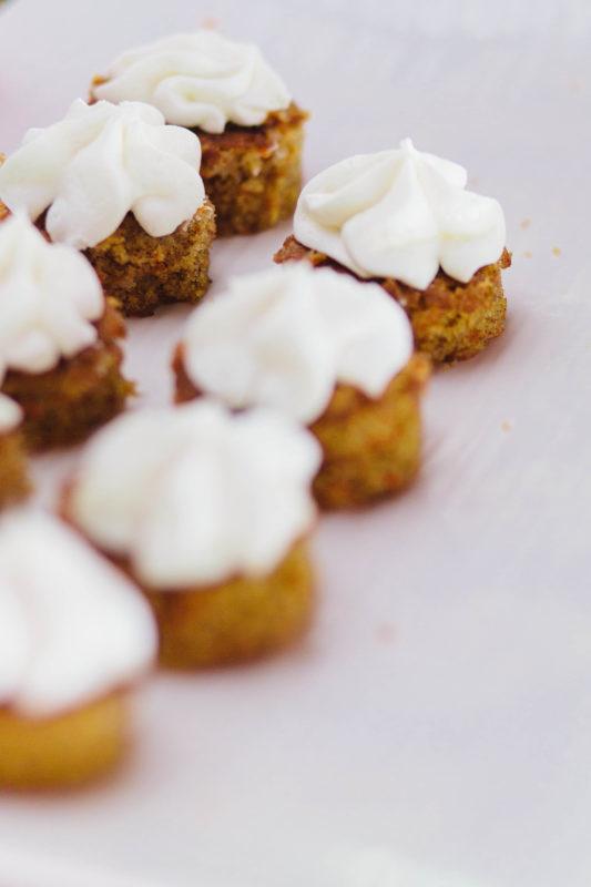 rustic wedding dessert buffet - mini carrot cakes
