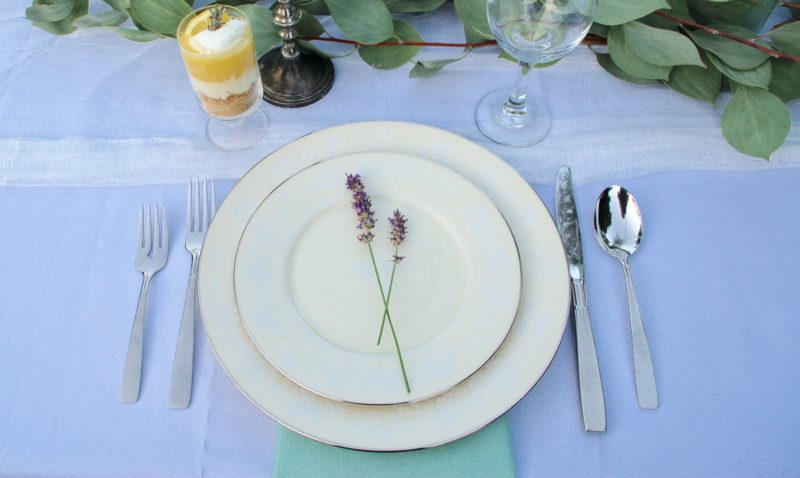 lavender sprigs on plate