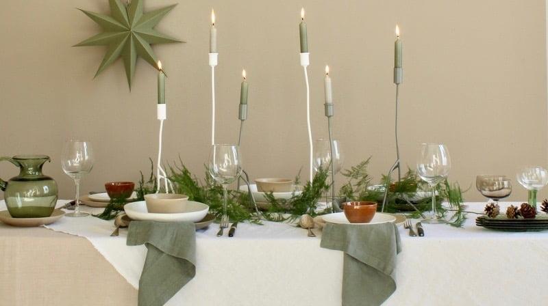 sfeerbeeld groene kersttafel