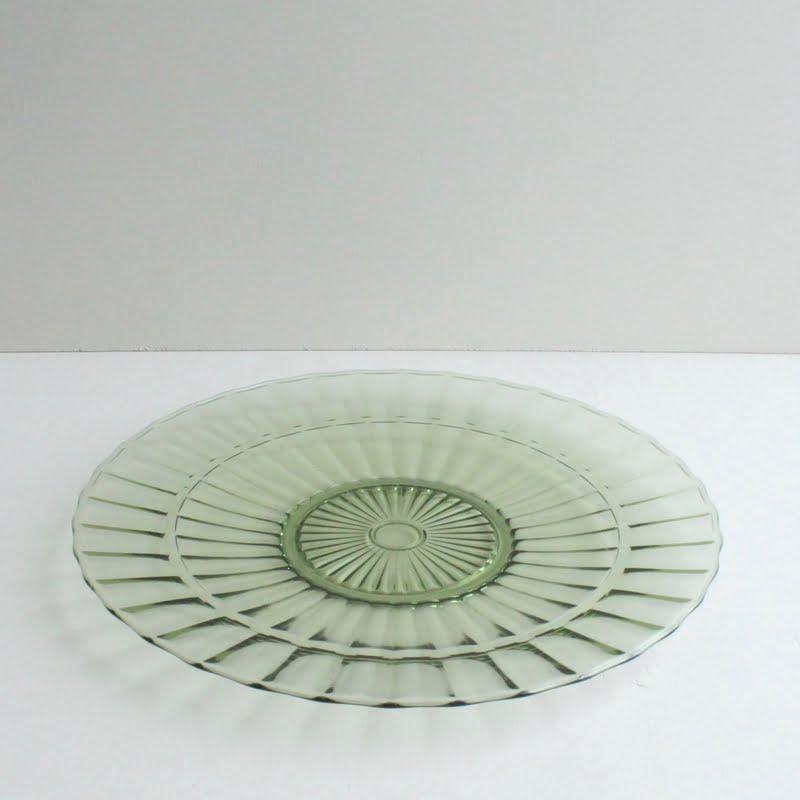 vintage schaal groen persglas, Leerdam