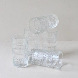 set longdrink glazen met relief