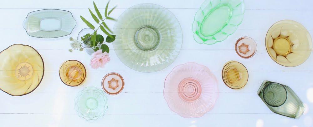 vintage glazen schalen