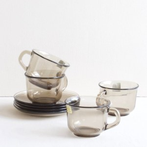 Set koffiekopjes van rookglas
