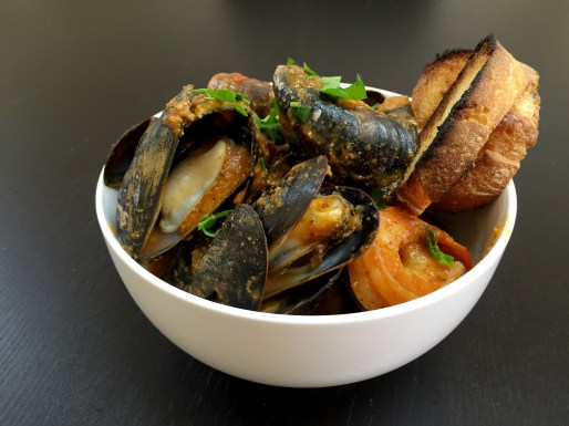 Mussels steamed in romesco sauce