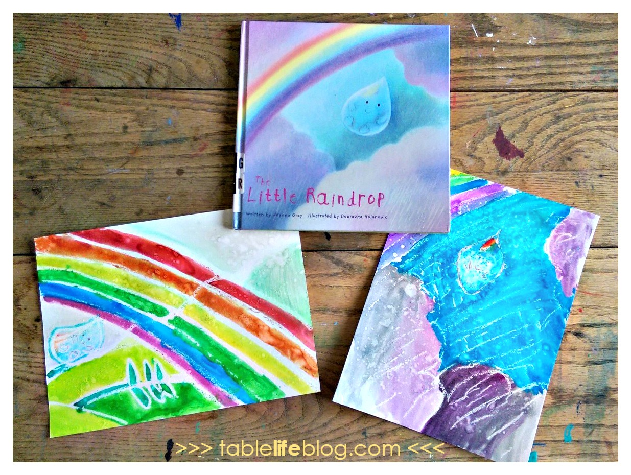 The Little Raindrop Watercolor Resist Art Completed Both
