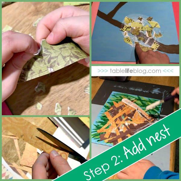 Mixed Media Bird Nest Art for Kids - Inspired by a Nest is Noisy