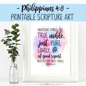 Philippians 4:8 Printable Scripture Art
