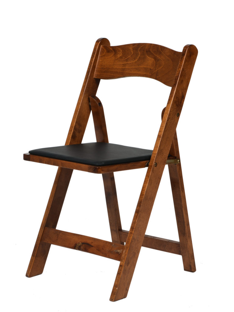 folding chair vinyl padded black yilan design competition honey walnut wood - table manners