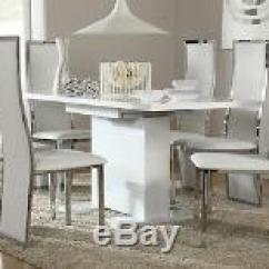 White 6 Chair Dining Table And Ottoman Canada Osaka Celeste Extending High Gloss Room 4 Chairs Set