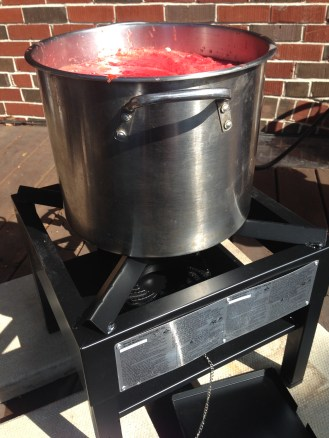Boiling away on the outdoor burner
