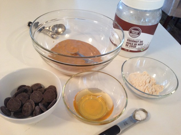 Ingredients for Healthy Chocolate-covered Peanut Butter Balls