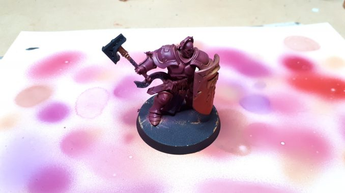 A Stormcast Eternal Liberator, primed in Screamer Pink. This was used to practise nailing the consistency of the paint in the airbrush.