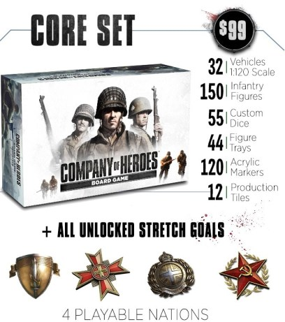 The box and contents of the Company of Heroes Board Game core set.