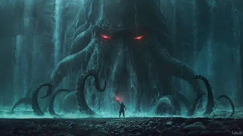 illustration of Cthulu waking and rising out of the water