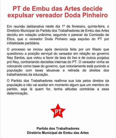 Nota do PT para expulsa do vereador Doda